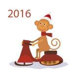 在雪上电车的猴子圣诞老人 也corel凹道例证向量 图库摄影
