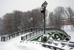 在雪下的一座桥梁 俄国冬天 彩色照片 库存图片