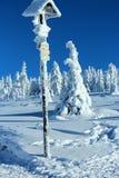 在雪下的世界在山 库存照片