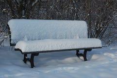 在雪下的公园长椅 库存照片