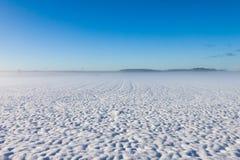 在雪下的冬天有雾的领域 免版税库存图片