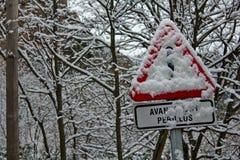 在雪下的危险 免版税库存图片