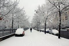 在雪下的城市 免版税库存照片