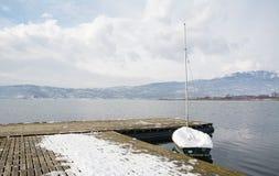 在雪下的小船在Vegoritis湖,希腊 免版税库存图片