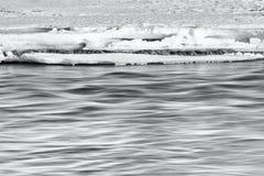 在雪下的柔滑的水 库存图片