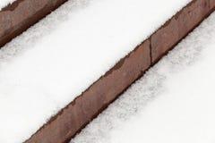 在雪下的步 免版税库存照片