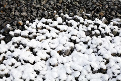 在雪下的石渣 库存照片
