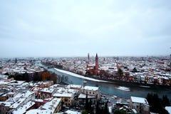 在雪下的维罗纳视图城市 免版税库存照片