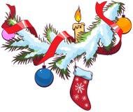 在雪下的装饰的圣诞节冷杉分支 免版税库存图片