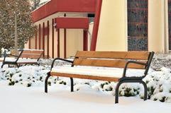 在雪下的长凳在公园 库存照片