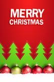 在雪与& x22的圣诞节球; 快活的christmas& x22;消息 库存照片