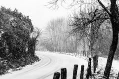 在雪中间的一条弯曲的路 图库摄影
