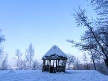 在雪之下的亭子 免版税图库摄影
