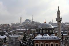在雪之下的伊斯坦布尔 免版税库存照片