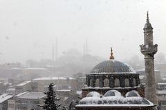 在雪之下的伊斯坦布尔 免版税库存图片