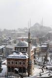 在雪之下的伊斯坦布尔 库存图片