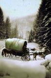 在雪之下的无盖货车 免版税库存照片