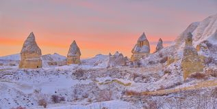 在雪以后的卡帕多细亚 图库摄影