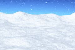 在雪原的降雪与小山 库存例证