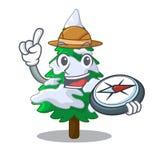 在雪吉祥人的探险家现实杉树 向量例证