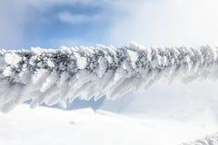 在雪和冰川覆盖的台阶篱芭的细节 免版税库存照片