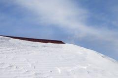 在雪和蓝天的屋顶 库存图片