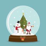 在雪地球的圣诞树圣诞老人 库存照片