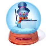 在雪地球的雪人与白色盘区3d例证 免版税库存图片