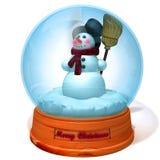 在雪地球3d例证的雪人 免版税库存图片