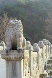 在雪岳山韩国的长的具体桥头。 免版税库存照片