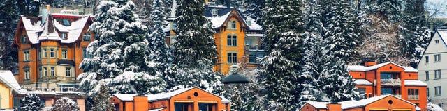 在雪报道的住宅家鸟瞰图  冬天在圣加连,瑞士 免版税图库摄影