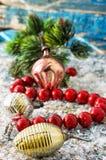 在雪报道的浅兰的背景的珊瑚小珠 免版税库存图片