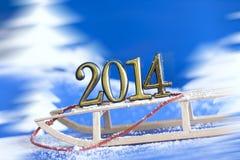在雪撬的2014个新年数字 免版税库存图片