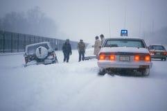 在雪放逐的汽车,华盛顿, D C 图库摄影