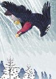 在雪暴风雨下的老鹰飞行 库存图片