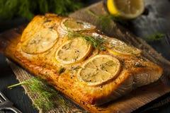 在雪松板条的自创烤三文鱼 免版税库存照片