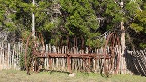 在雪松肢体前面篱芭的古色古香的犁  免版税图库摄影