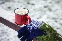在雪桥梁的红色杯子在冬天公园 免版税库存图片