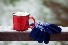 在雪桥梁的红色杯子在冬天公园 免版税库存照片