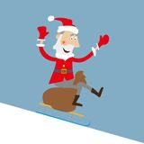在雪橇的圣诞老人与礼物袋子 免版税图库摄影