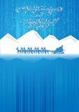 在雪橇的圣诞老人乘驾 库存图片