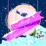 在雪橇的圣诞老人飞行圣诞快乐假日庆祝的 库存照片