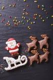 在雪橇的姜饼圣诞老人由驯鹿特写镜头拉扯了 Vertica 图库摄影