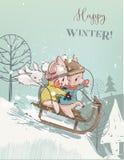 在雪橇的逗人喜爱的猪 向量例证