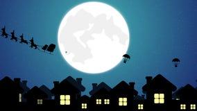 在雪橇的飞行圣诞老人与在镇分布的礼物的驯鹿在圣诞节 向量例证