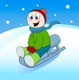 在雪橇的滑稽的男孩乘驾 外籍动画片猫逃脱例证屋顶向量 皇族释放例证