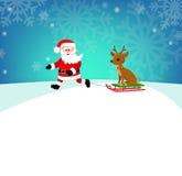 在雪橇驯鹿驾驶的愉快的圣诞老人 动画片司令员枪他的例证战士秒表 向量例证