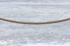 在雪熔化的背景的篱芭绳索 免版税库存照片