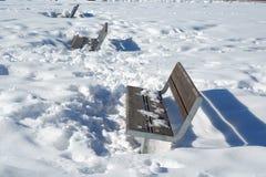 在雪的一条长凳在公园 免版税库存照片