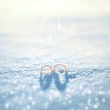 在雪的两只婚姻的金戒指在冬日 免版税库存图片